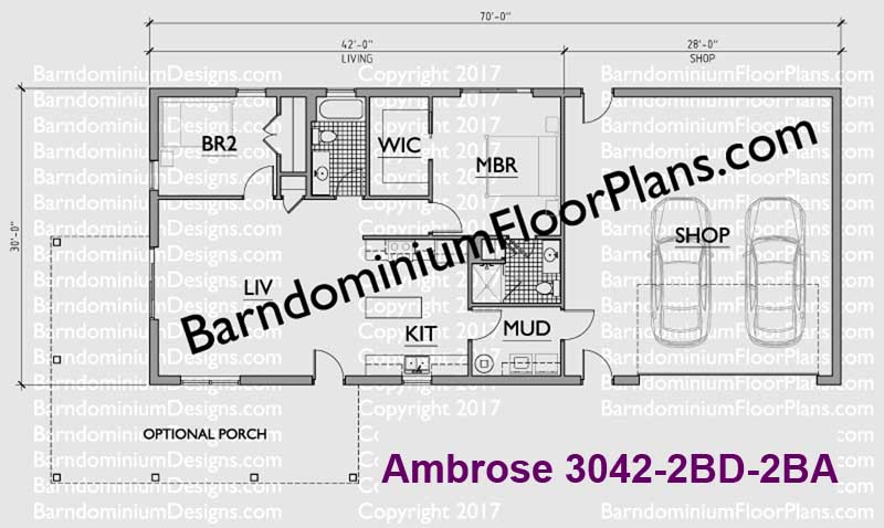 1260 square foot 2 bedroom 2 bath Barndominium Floor Plan