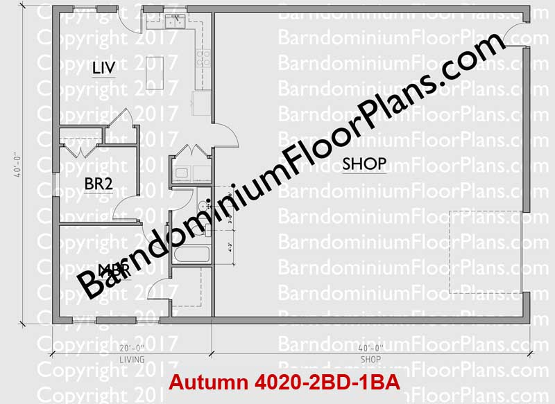 40 foot wide 2 bedroom 1 bath Barndominium Floor Plan - Autumn