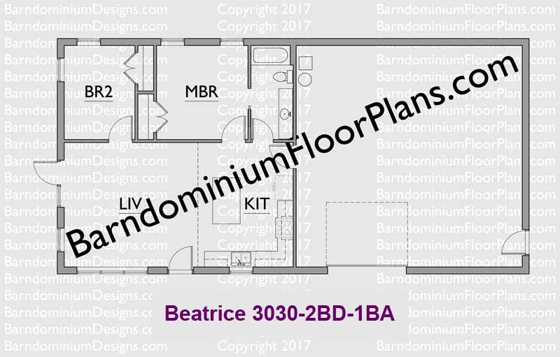 900 square foot 2 bedroom 1 bath barndominium floor plan Beatrice