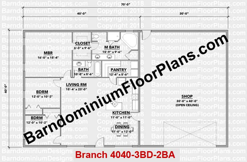 BarndominiumFloorPlans.com | Branch | 3 Bedroom | 2 Bathroom | 40 Foot Wide | Barndominium Floor Plans | Pole Barn House Plans | Metal Building Homes | Metal Barn