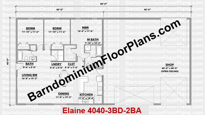 BarndominiumFloorPlans.com | Elaine | 3 Bedroom | 2 Bathroom | 40 Foot Wide | Barndominium Floor Plans | Pole Barn House Plans | Metal Building Homes | Metal Barn