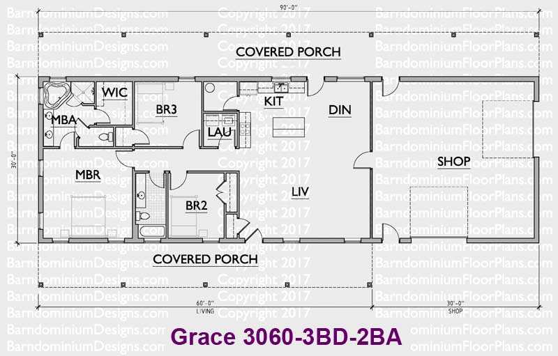 barndominiumfloorplansbarndominiumfloorplans com grace 3 bedroom 2 bathroom 30 foot wide