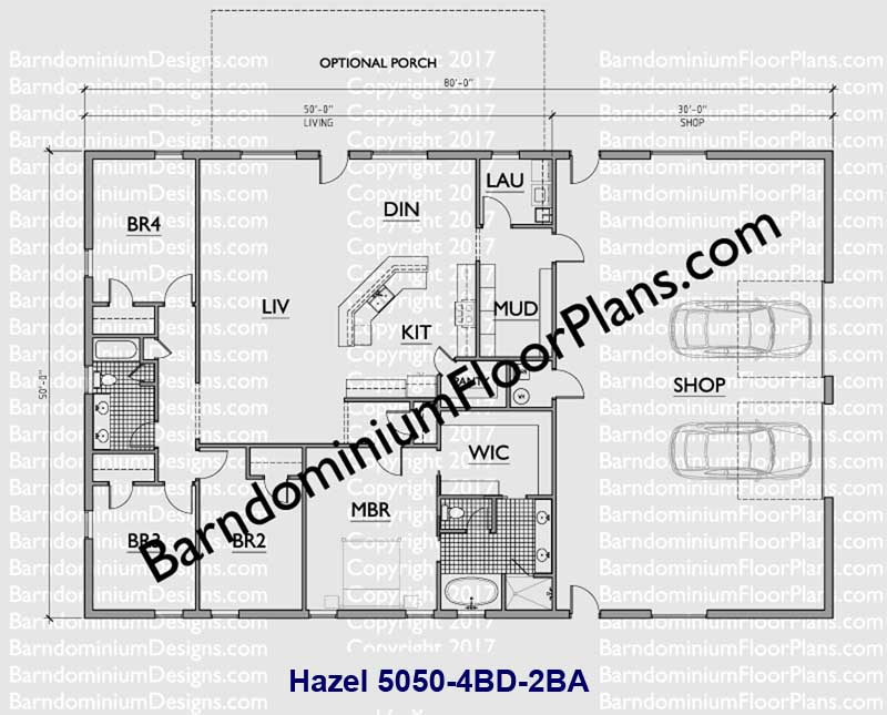50 foot wide 4 bedroom Barndominium floor plan 2 bath - Hazel