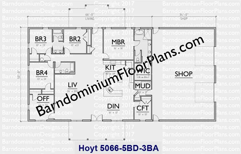 5 bedroom Barndominium floor plan with 3 baths and shop, 3,300 sq. ft. - Hoyt