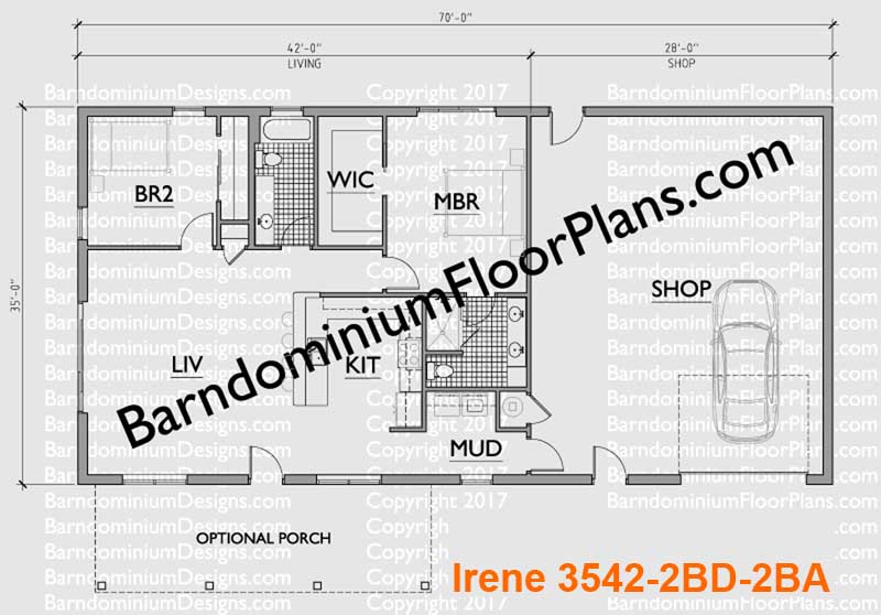 2 bedroom 2 bath Barndominium Floor plan for 35 foot wide building with a 35 x 28 shop area.