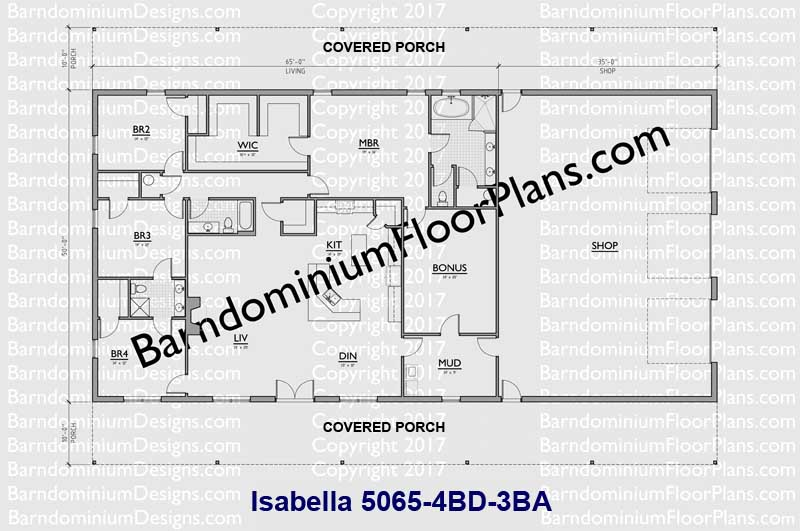 50 ft wide 4 bedroom 3 bath Barndominium floor plan - Isabella