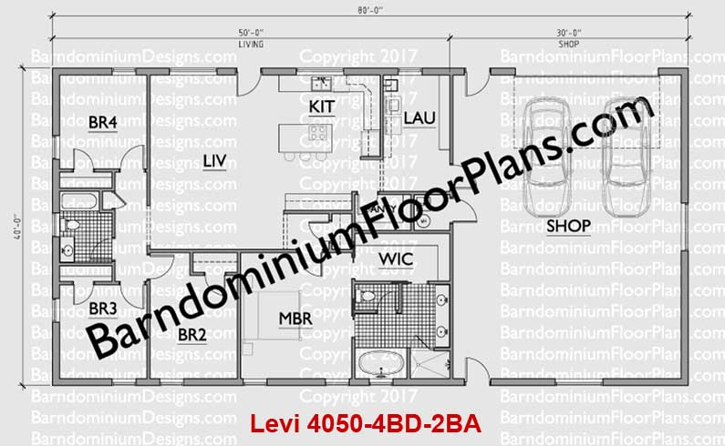 40 foot wide barndominium floor plan 4 bedroom 2 bath - Levi