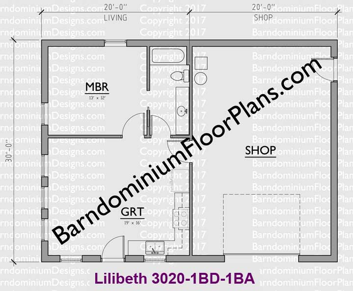 600 square foot barndominium 1 bedroom 1 bath Lilibeth
