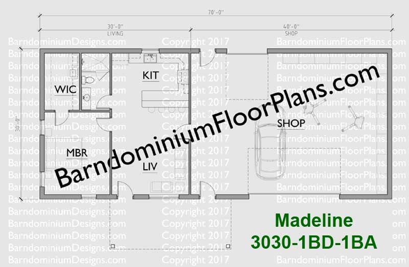 30 foot wide barndominium floor plan 1 bedroom 1 bath Madeline