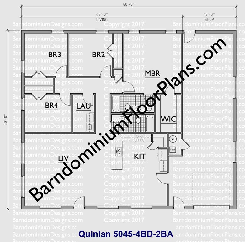 50 foot wide barndominium floor plan 4 bedroom 2 bath with garage - Quinlan
