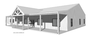 Barndominium Floor Plan 3D Front Right Perspective