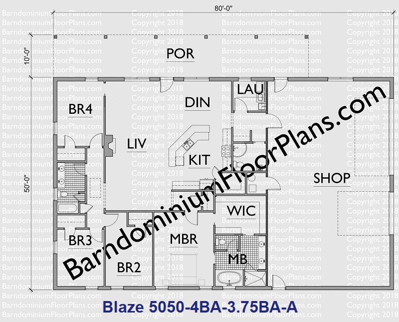 Blaze Version A 4 Bedroom 3.75 Bath Barndominium Plan 800px