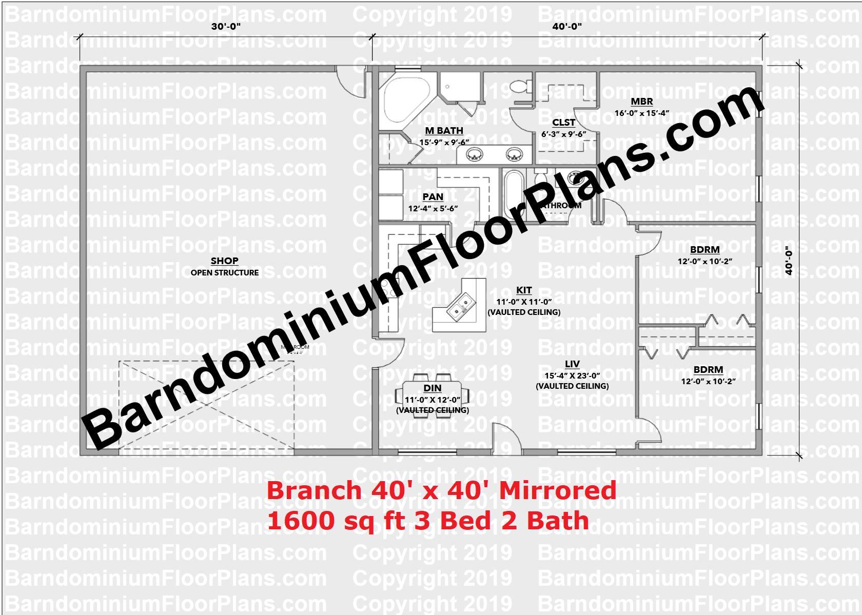 Branch V2 Mirrored Barndominium Floor Plan 3 Bedroom 1600 sq ft