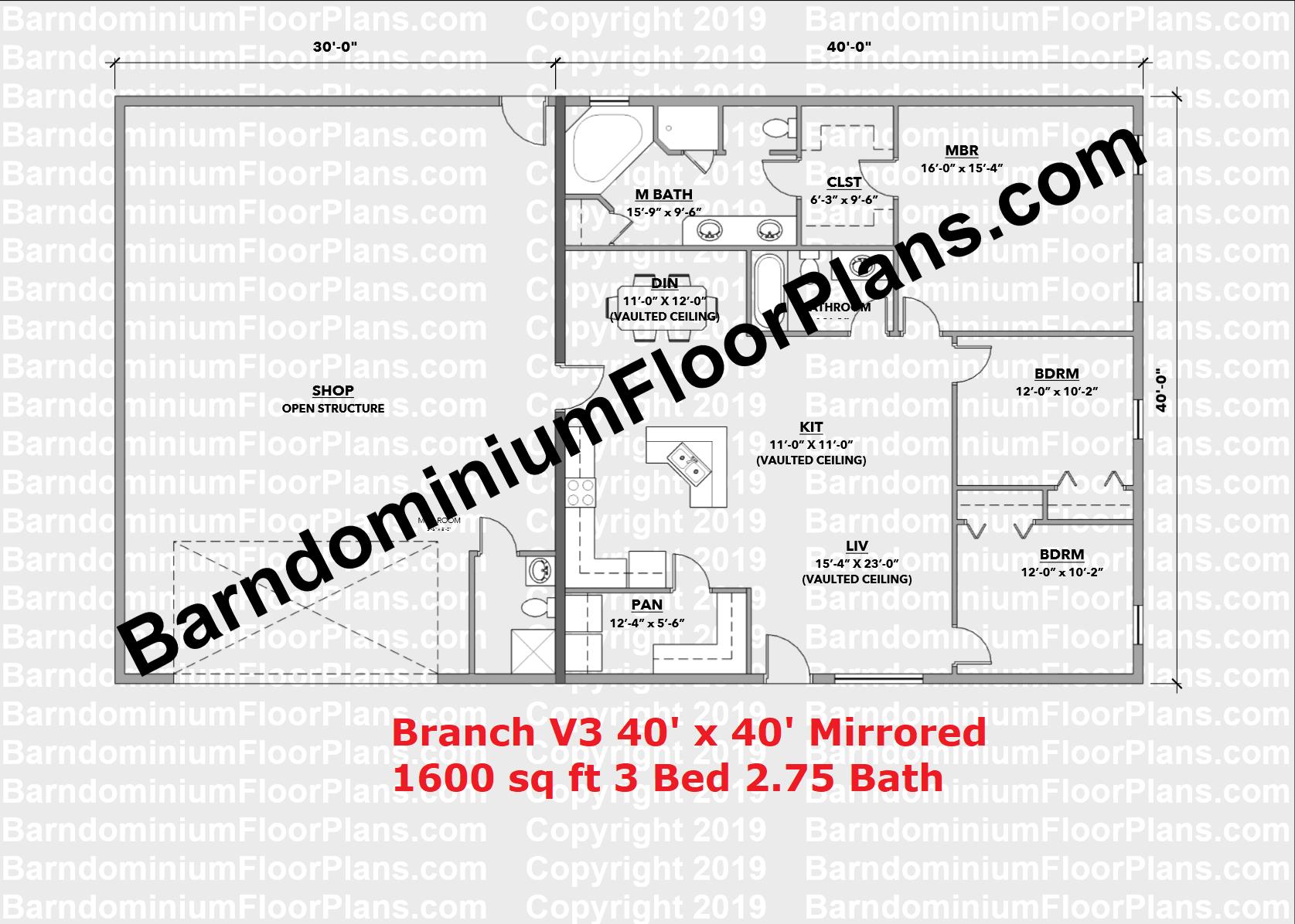 Branch V3 Barndo Floor Plan 3 Bedroom 1600 sq ft