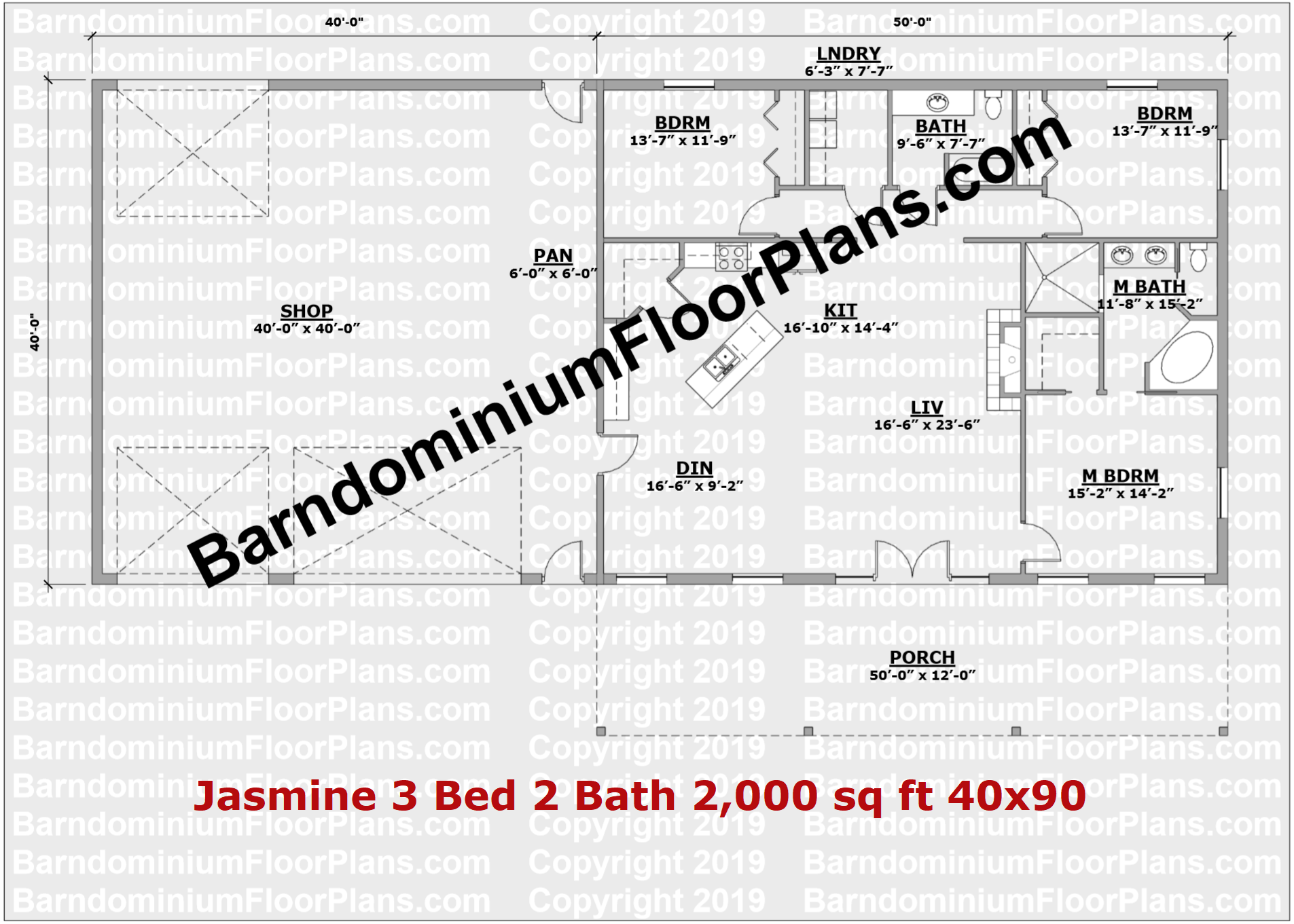 40 foot wide barndominium floor plan 3 bedroom 2 bath - Jasmine