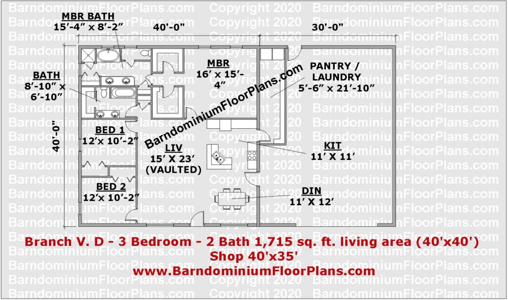 Branch V. D - 3 bed 2 bath 1715 sq ft barndominium plan 40 foot wide