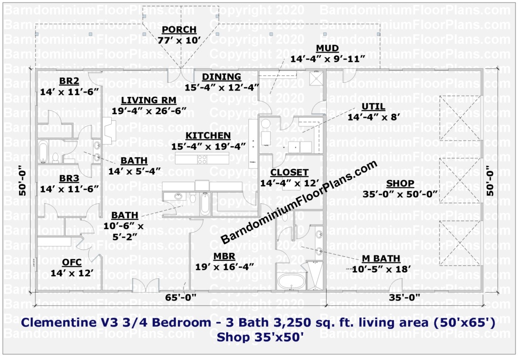 Clementine V3 3 or 4 Bedroom 3 Bath 3,250 sq. ft. Barndominium Floor Plan