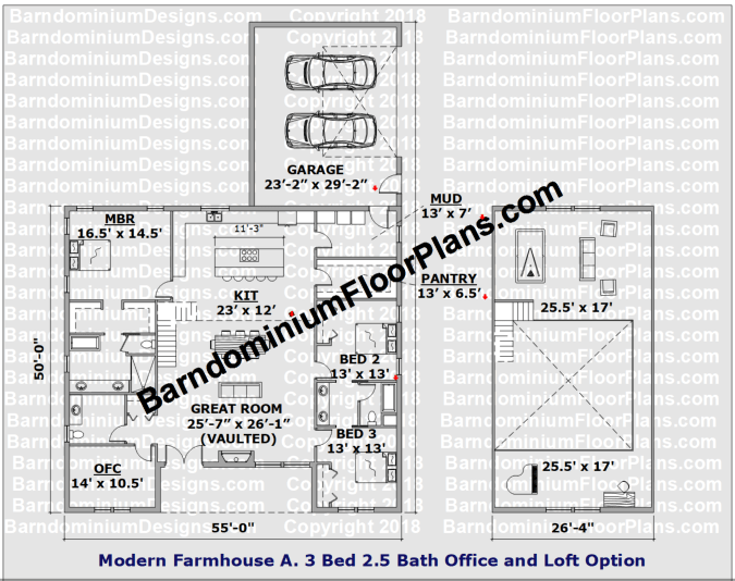Modern Farmhouse Version A Barndominium Floor Plan