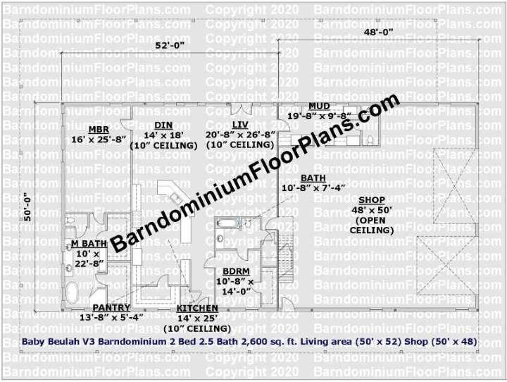 Baby Beulah 50 foot wide Barndominium Floor Plan
