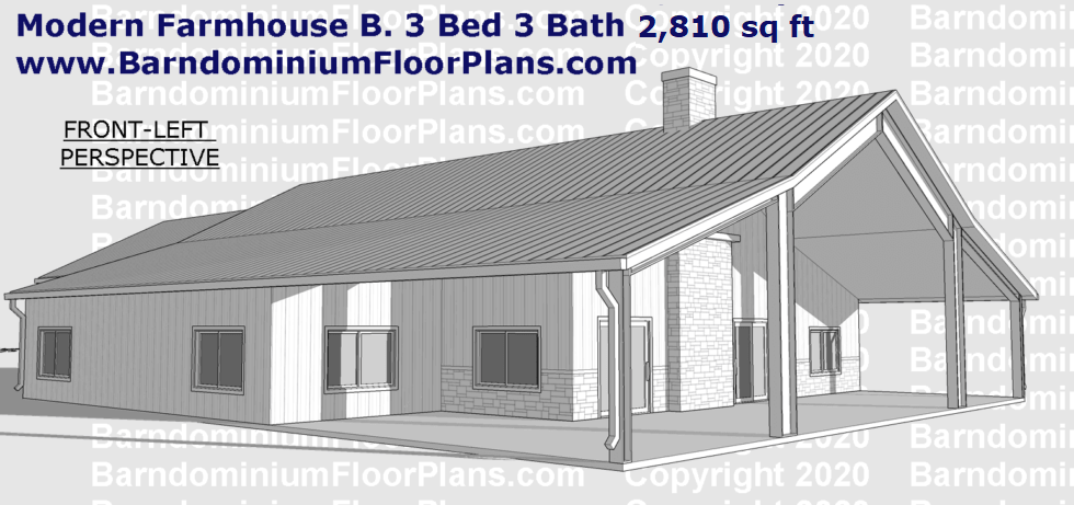 Modern Farmhouse Barndominium Floor Plan Version B 3D Rendering