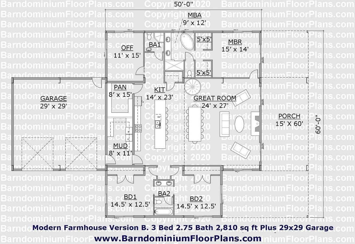 Modern Farmhouse Barndominium Floor Plan Version B