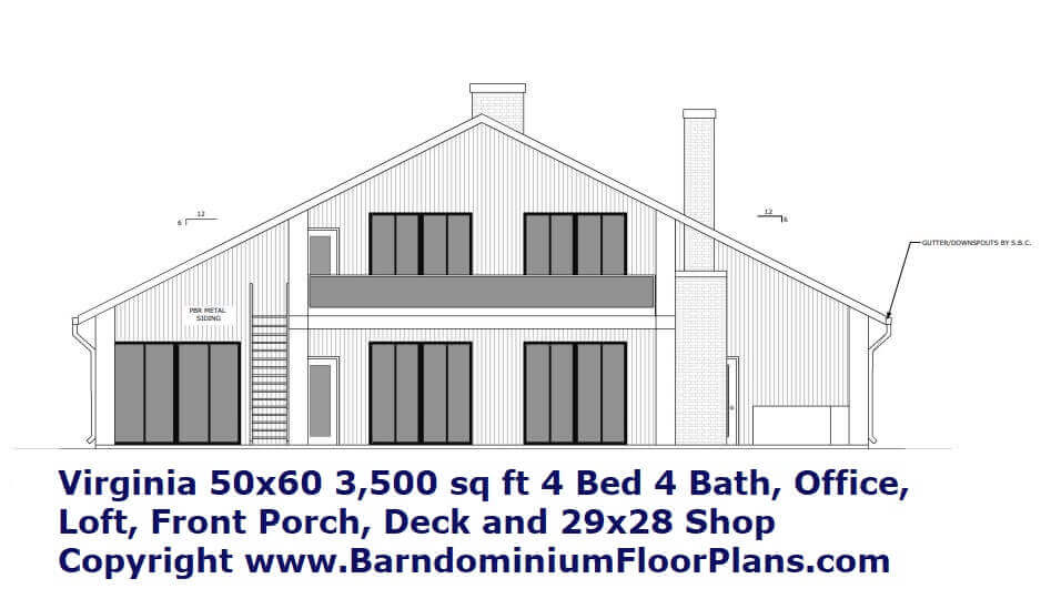 2D Elevation 2 Story Virginia Barndominum  with 2nd Story loft, Deck and Porch