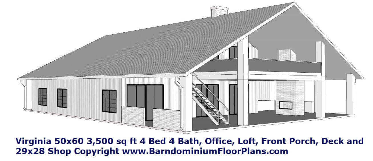 3D 2 Story Virginia Barndominum House Plan with 2nd Story loft, Decki and Porch