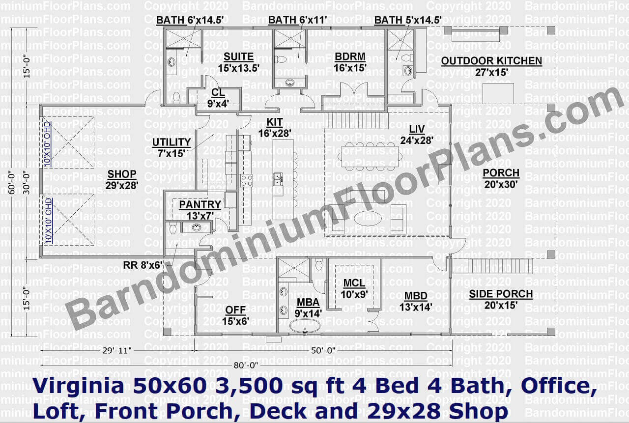Virginia 2 Story Barndominium Plan 50x60 living area 3,500 sq ft 4 Bed 4 Bath, Office, Loft, Front Porch, Deck and 29x28 Shop