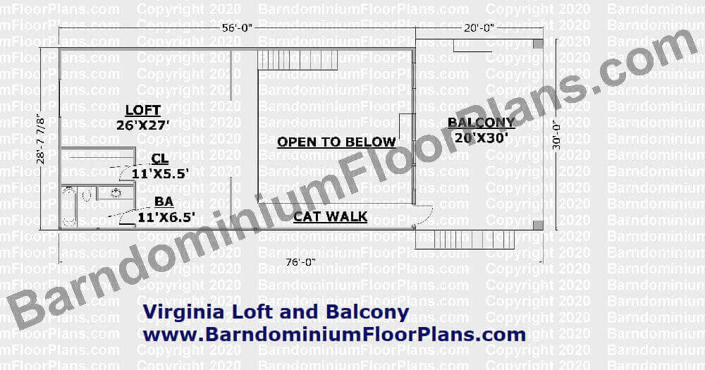 Virginia Loft and Balcony 2nd Story Barndominium House Plan
