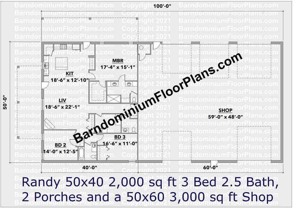 Randy Barndominium House Plan 50 foot wide 2,000 sq. ft.