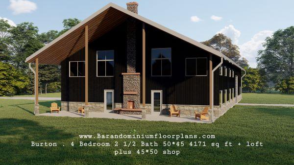 Burton-barndominium-4-Bed–2.5-Bath–4171-sq-ft-Frontview