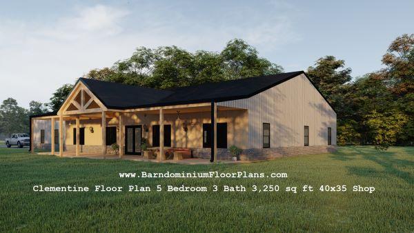clementine barndominium exterior 3d render with shop