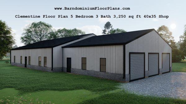 clementine barndominium exterior 3d render 3250 floor plan plus shop