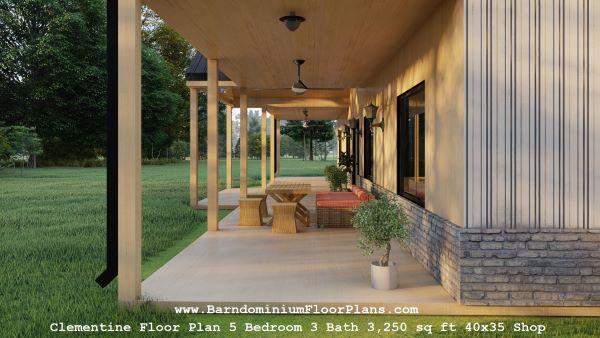 clementine barndominium exterior 3d render porch
