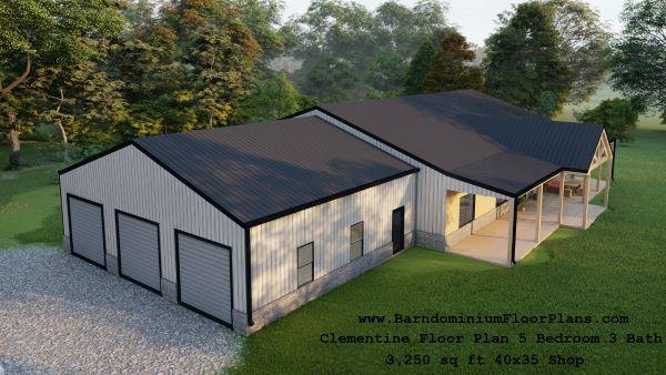 clementine barndominium exterior 3d render topview 3250 sq ft floor plan