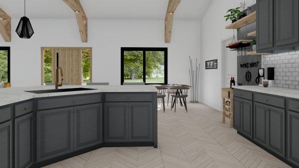 clementine barndominium 3d rendr interior kitchen cabinet