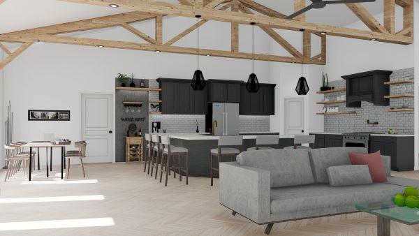 clementine barndominium 3d render interior kitchen design