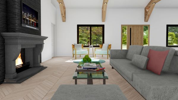 clementine barndominium interior 3d render living room with fireplace
