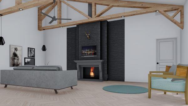 clementine barndominium 3d render interior livingroom