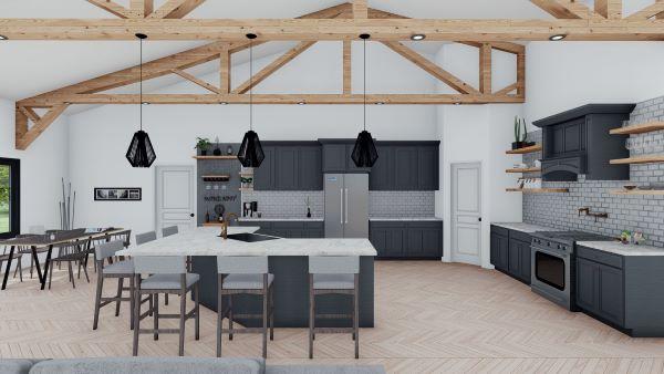 clementine barndominium interior 3d render kitchen island