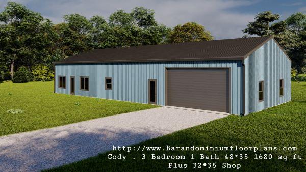 Cody-Barndominium-3d-render-3-Bedroom-1-Bathroom-1680-sq.ft-Floor-Plan-plus-Shop