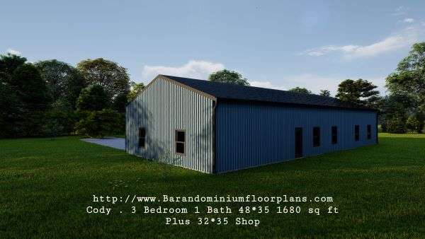 Cody-Barndominium-3D-Render-3-Bedroom-1-Bathroom-1680-sq.ft-Floor-Plan-with-laundry-room-plus-shop