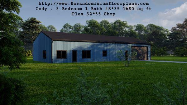 Cody-Barndominium-3-Bedroom-1-Bathroom-1680-sq.ft-Floor-Plan