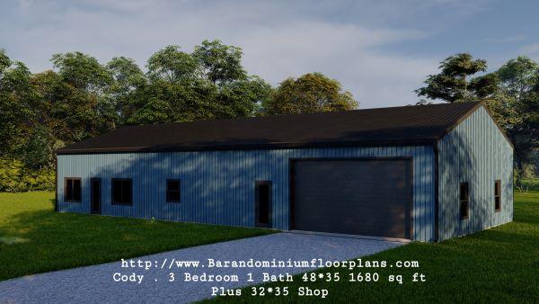 Cody-Barndominium-3-Bedroom-1-Bathroom-1680-sq.ft-Floor-Plan-Frontview