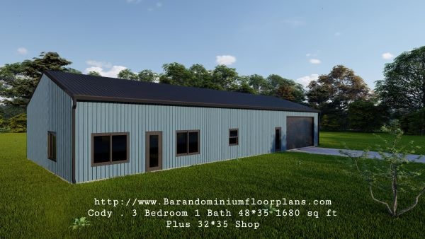 Cody-Barndominium-3drender-48x35-3-Bedroom-1-Bathroom-1680-sq.ft-Floor-Plan