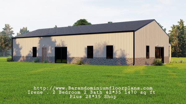 Irene-Barndominium-2-bed-2-bath-1470-sq-ft-Floor-Plan-Backview
