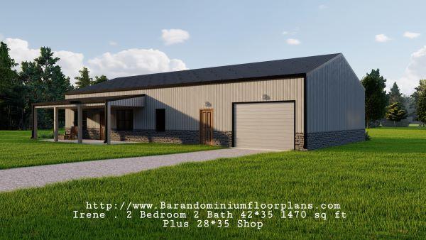 Irene-Barndominium-2-bed-2-bath-1470-sq-ft-Floor-Plan-Plus-Shop-Frontview