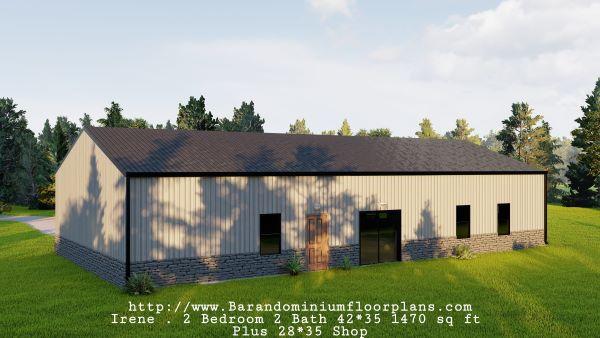 Irene-Barndominium-Backview-2-bed-2-bath-1470-sq-ft-Floor-Plan