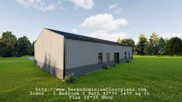 Irene-Barndominium-3D-Rendering-Sideview-Back-2-bed-2-bath-1470-sq-ft-Floor-Plan-with-Mudroom