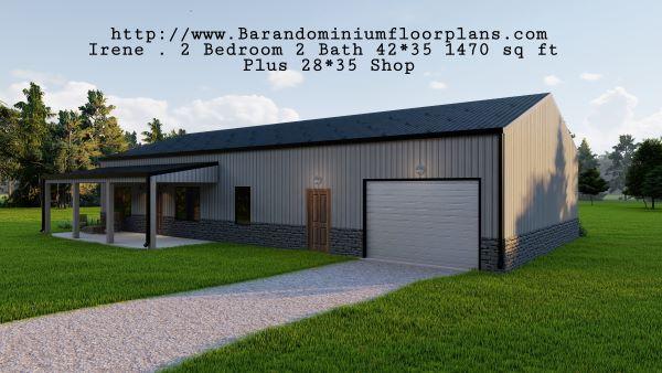 Irene-Barndominium-3D-Rendering-2-bed-2-bath-1470-sq-ft-Floor-Plan-Frontview